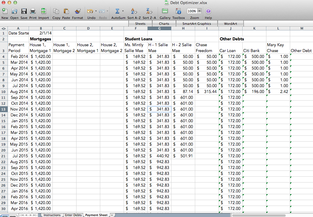 spreadsheet  u2013 mintly  our journey through debt